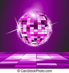 pelota, fiesta, disco, fondo púrpura