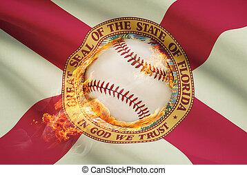 pelota, florida, serie, -, bandera, beisball, plano de fondo