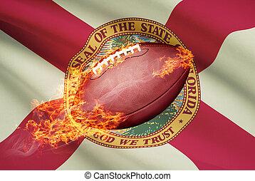 pelota, florida, serie, fútbol, -, bandera estadounidense,...