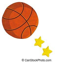 pelota, foto, ilustración, baloncesto, estrellas, acción