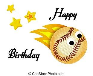 pelota, foto, ilustración, cumpleaños, beisball, estrellas, ...