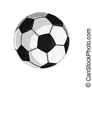pelota, futbol, aislado, ilustración, acción