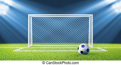 pelota, futbol, estadio, fútbol, metas