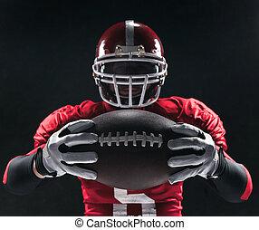 pelota, futbolista, norteamericano, posar, plano de fondo, ...