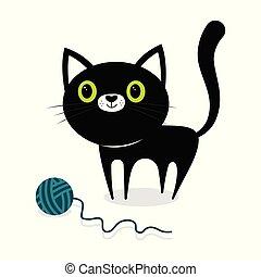 pelota, gato negro