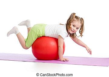 pelota, gimnástico, aislado, diversión, teniendo, niño