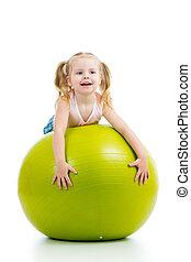pelota, gimnástico, aislado, diversión, niña, teniendo, niño