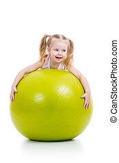 pelota, gimnástico, aislado, niño, diversión, teniendo
