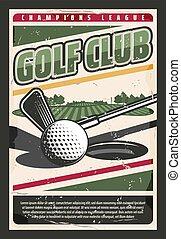 pelota, golf, agujero, curso