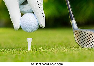 pelota, golf, arriba, tee, curso, cierre, vista