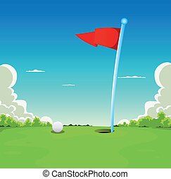pelota, golf, -, bandera, poner verde