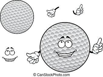 pelota, golf, blanco, carácter, con hoyuelos, sonriente,...