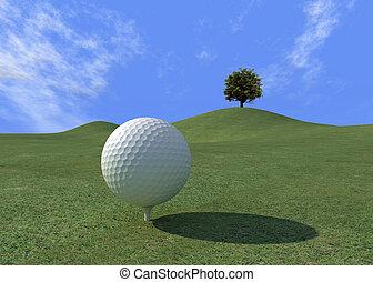 pelota golf, en, un, beautifull, día, -, digital, art-work