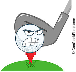 pelota, golf, encima, carácter, tee, enojado