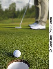 pelota, golf, foco, selectivo, golfista, poniendo