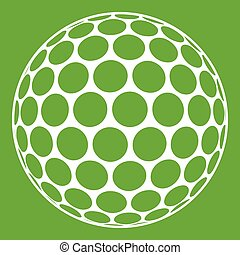 pelota, golf, negro, verde blanco, icono