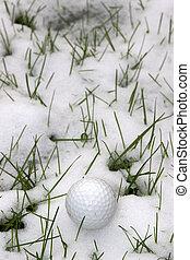 pelota, golf, nieve, con hoyuelos, solo, cubierto, pasto o...