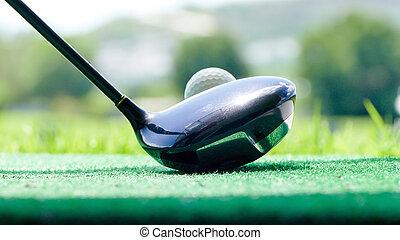 pelota, golf, putter, curso, hierba verde