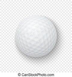 pelota, golf, transparencia, clásico, mockup., aislado, 3d,...