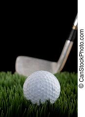 pelota, golf, vertical, club, imagen, enfoque poco profundo,...