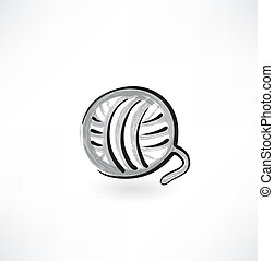 pelota, grunge, hilo, icono