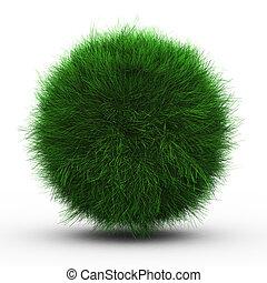pelota, hierba verde, render, 3d