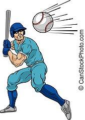 pelota, hogar, jugador, bate de béisbol, balanceo, corra