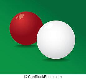 pelota, -, ilustración, realista, lleno, blanco rojo, ...