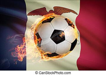 pelota, iowa, serie, -, bandera, plano de fondo, futbol