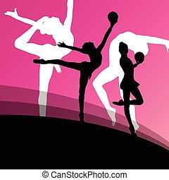 pelota, joven, siluetas, gimnastas, activo, niña, acrobacia...