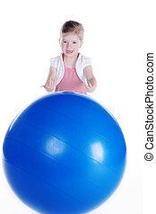 pelota, juego, gimnástico, niño