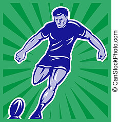 pelota, jugador rugby, patear, vista delantera
