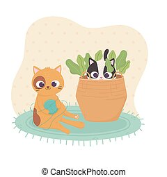 pelota, lana, caricatura, otro, canasta de mascota, gato que...
