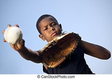 pelota, lanzamiento, deporte, beisball, niño, retrato, niños