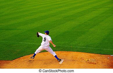 pelota, lanzamiento, profesional, cántaro, beisball, montón
