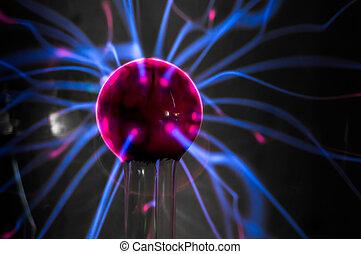 pelota, llamas, aislado, magenta-blue, fondo., negro, plasma
