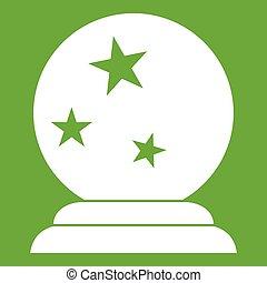 pelota mágica, verde, icono