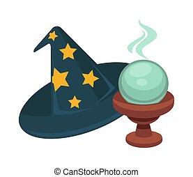 pelota, magia, mago, vidrio, estrellas, sombrero