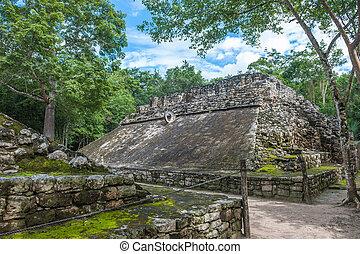 Pelota, Maya, México, De, juego, campo, coba, Yucatán,...