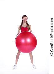 pelota, mujer, joven, gimnástico