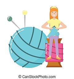pelota, mujer, tejido de punto, hilo, sentado