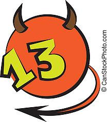 pelota, número, diabólico, trece