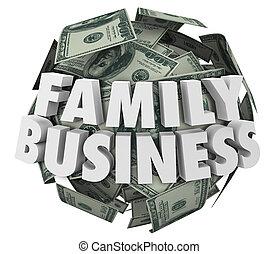 pelota, negocio de la familia, dinero, compañía, parientes, palabras, de arranque