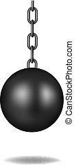 pelota negra, diseño, destruir