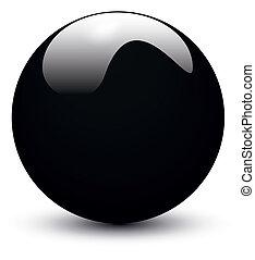 pelota, negro, brillante