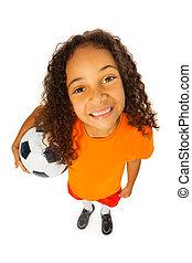 pelota, negro, sobre, niña, futbol, vista