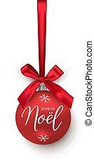 pelota, nuevo, element., vector, año, navidad, noel, cinta, ...