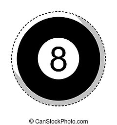 pelota, ocho, aislado, icono