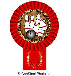 pelota, oro, juego de bolos, cinta, bolos, medalla, rojo