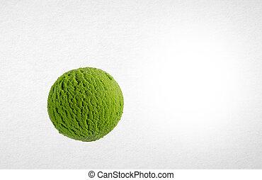 pelota, pala, hielo, fondo., o, crema